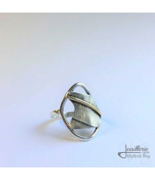 Ring in oxidised sterling silver and 18k yellow gold by Jewelery signed Mylene Roy