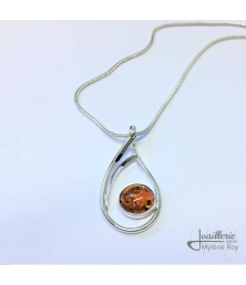 Pendant with amber by Jewelery signed Mylene Roy