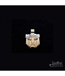 Transformer mask pendant by Jewelery signed Mylene Roy