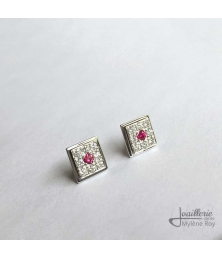 Earrings with garnets and zircons by Jewelery signed Mylene Roy