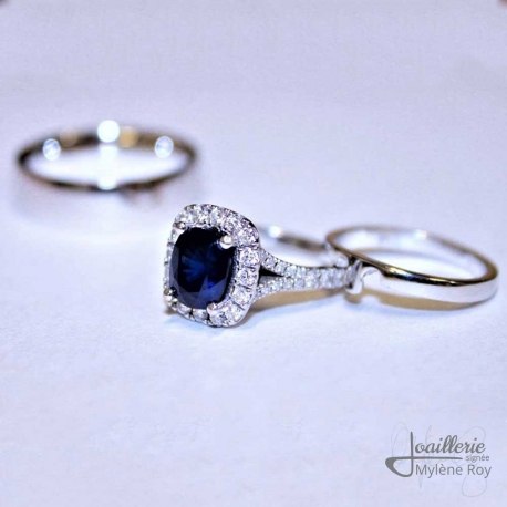 Engagement Ring and Wedding Band by Jewelery signed Mylene Roy