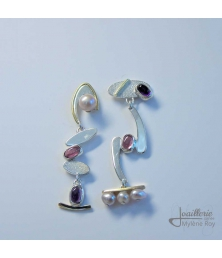 Earrings with pearl, tourmaline and amethyst