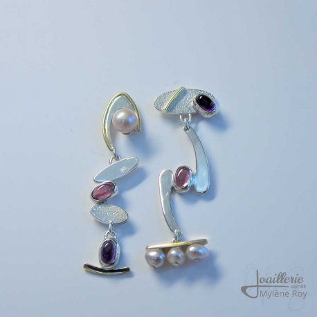 Earrings with Pearl, Tourmaline and Amethyst by Jewelery signed Mylene Roy