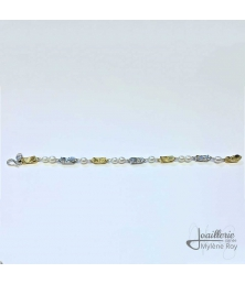 Sterling silver and yellow gold braslet with pearls by Jewelery signed Mylene Roy