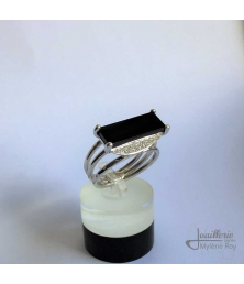 Ring with Onyx and Cubic Zirconia by Jewelery signed Mylene Roy