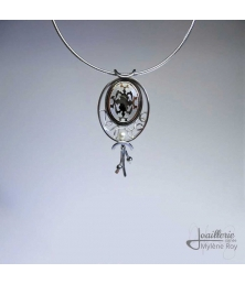 Reversible pendant with pearl made from a cufflink by Jewelery signed Mylene Roy