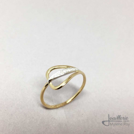 Sterling Silver and 18k Yellow Gold Ring with Cubic Zirconia by Jewelery signed Mylene Roy